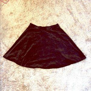H&M black velvet mini skirt